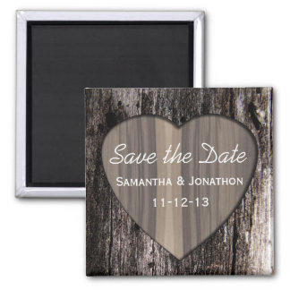Rustic Wood Tree Bark Heart Wedding Save the Date Magnet