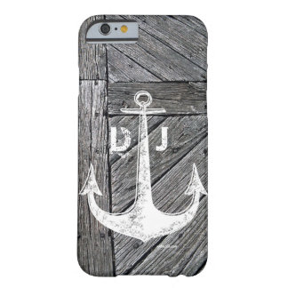 Rustic wood vintage anchor nautical monogram barely there iPhone 6 case