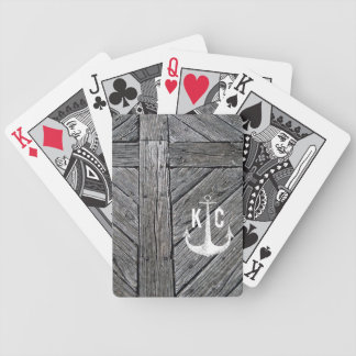 Rustic wood vintage anchor nautical monogram bicycle playing cards