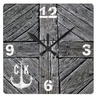 Rustic wood vintage anchor nautical monogram clocks