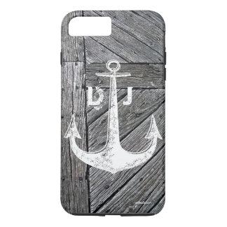 Rustic wood vintage anchor nautical monogram iPhone 8 plus/7 plus case