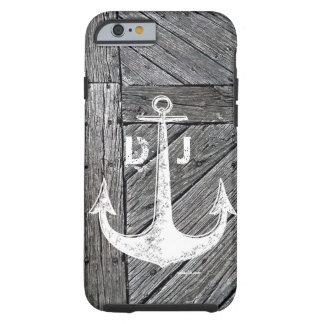 Rustic wood vintage anchor nautical monogram tough iPhone 6 case