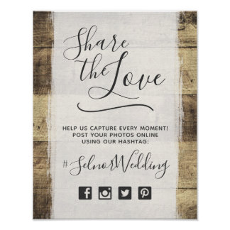 Rustic Wood Vintage Country Wedding Hashtag Photo Poster