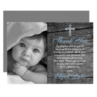 Rustic Wood Vintage Cross Photo Baptism Thank You Card