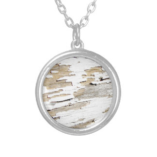Rustic Wood Vintage Design Silver Plated Necklace