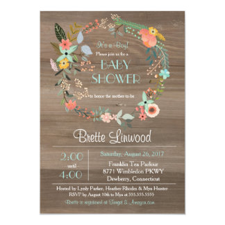 """Rustic Wood, Vintage Floral Wreath Baby Shower 5"""" X 7"""" Invitation Card"""