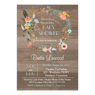 Rustic Wood, Vintage Floral Wreath Baby Shower Card