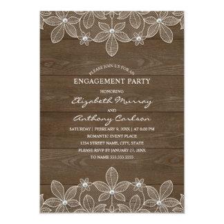 Rustic Wood Vintage Lace Elegant Engagement Party Card