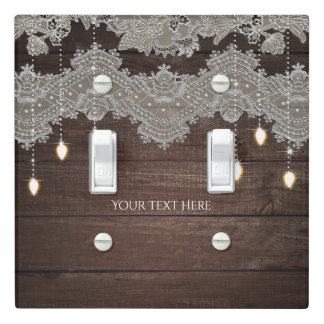 Rustic Wood & Vintage Lace & Lights Elegant Light Switch Cover