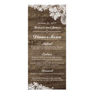 Rustic Wood & Vintage Lace Wedding Dinner Menu