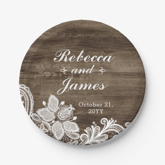 Rustic Wood & Vintage Lace Wedding Personalized 7 Inch Paper Plate