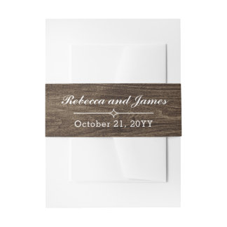 Rustic Wood & Vintage Lace Wedding Personalized Invitation Belly Band