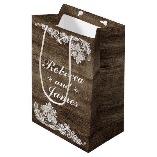 Rustic Wood & Vintage Lace Wedding Personalized Medium Gift Bag
