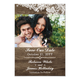 Rustic Wood & Vintage Lace Wedding Save The Date Card