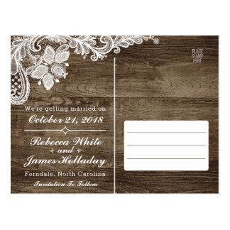Rustic Wood & Vintage Lace Wedding Save The Date Postcard