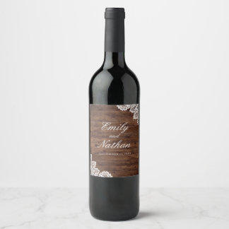 Rustic Wood Vintage Lace Wedding Wine Label