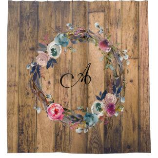 Rustic Wood Watercolor Floral Wreath Farmhouse