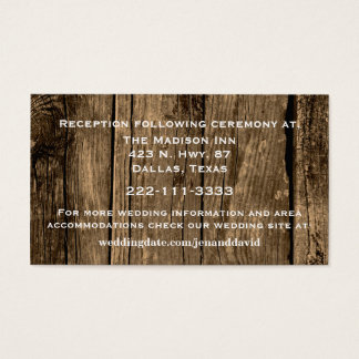 Rustic Wood Wedding Enclosure Card