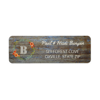 Rustic Wood Wedding Label | Woodland Boho Floral Return Address Label