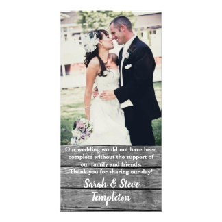Rustic Wood  Wedding Photo Thank you Cards
