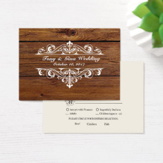 Rustic Wood Wedding RSVP Card