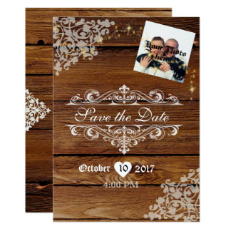 Rustic Wood Wedding Save the Date W/Sparkles Card