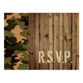 rustic wood western country Camo Wedding rsvp Postcard