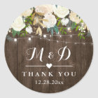 Rustic Wood White Floral Monogram Wedding Favour Classic Round Sticker