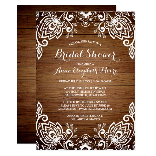 Rustic Wood White Lace Rustic Bridal Shower Card