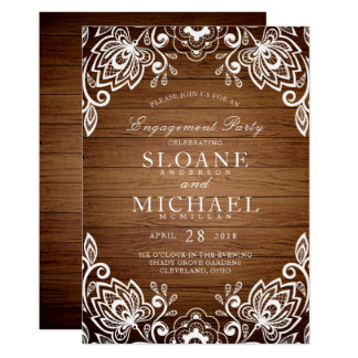 Rustic Wood White Lace Rustic Engagement Party Card