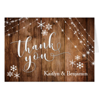 Rustic Wood, White Lights & Snowflakes Thank You Card