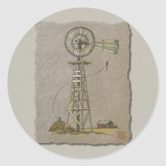 Rustic Wood Windmill Round Sticker