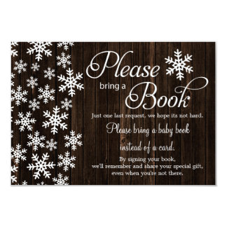 Rustic Wood Winter Baby Shower Bring a Book Card