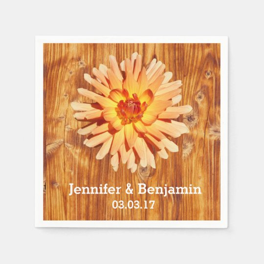 Rustic Wood with a Dahlia Flower Wedding Disposable Napkin