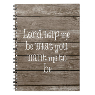 Rustic Wood with Christian Quote Spiral Note Book