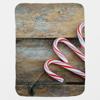 Rustic Wood with Christmas Candy Canes Baby Blanket