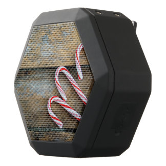 Rustic Wood with Christmas Candy Canes Black Bluetooth Speaker