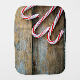 Rustic Wood with Christmas Candy Canes Burp Cloth