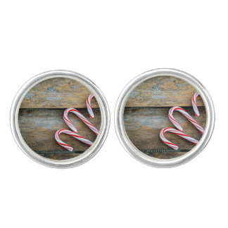 Rustic Wood with Christmas Candy Canes Cuff Links