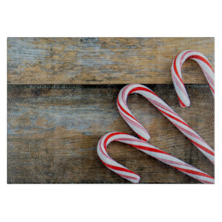 Rustic Wood with Christmas Candy Canes Cutting Board