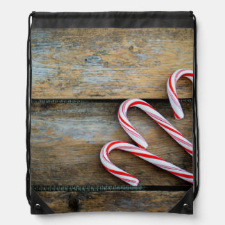 Rustic Wood with Christmas Candy Canes Drawstring Bag