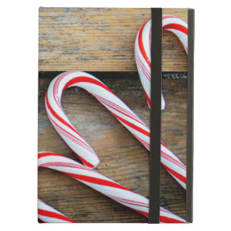 Rustic Wood with Christmas Candy Canes iPad Air Cover