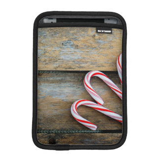 Rustic Wood with Christmas Candy Canes iPad Mini Sleeve