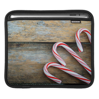Rustic Wood with Christmas Candy Canes iPad Sleeve
