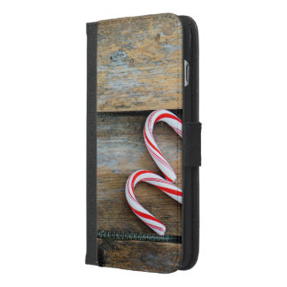 Rustic Wood with Christmas Candy Canes iPhone 6/6s Plus Wallet Case
