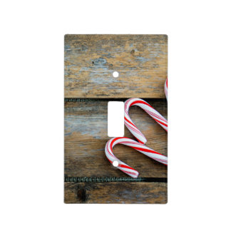 Rustic Wood with Christmas Candy Canes Light Switch Cover