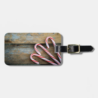 Rustic Wood with Christmas Candy Canes Luggage Tag
