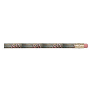 Rustic Wood with Christmas Candy Canes Pencil