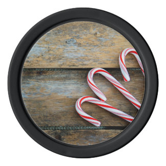 Rustic Wood with Christmas Candy Canes Poker Chips