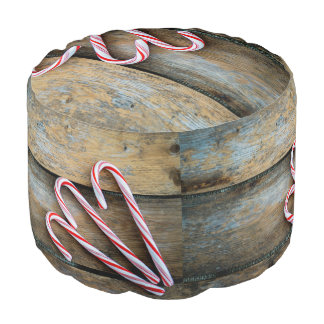 Rustic Wood with Christmas Candy Canes Pouf